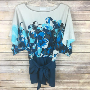 New York & Co Small Teal Blue Brown Floral Blouse